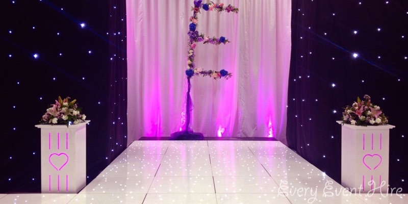 Catwalk and Illuminated Flower Plinths Gloucestershire