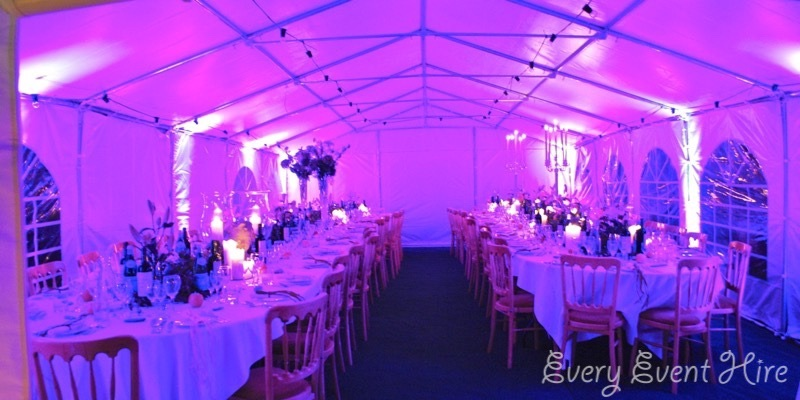 Marquee and Purple Lighting Birthday Party Gloucestershire