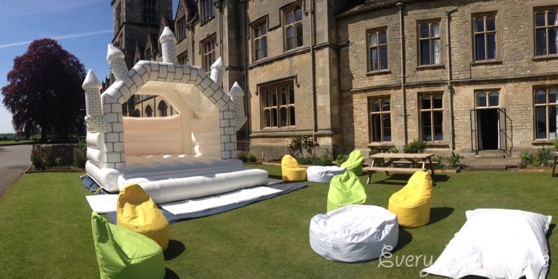 White Bouncy Castle with Bean Bags