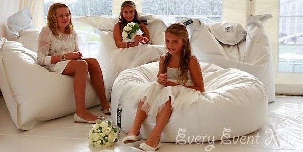 Wedding White Bean Bags Hire