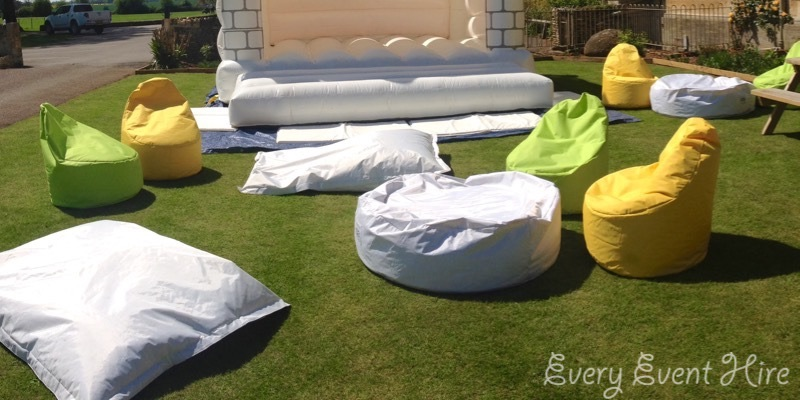 White, Yellow and Green Wedding Bean Bag Hire Gloucestershire