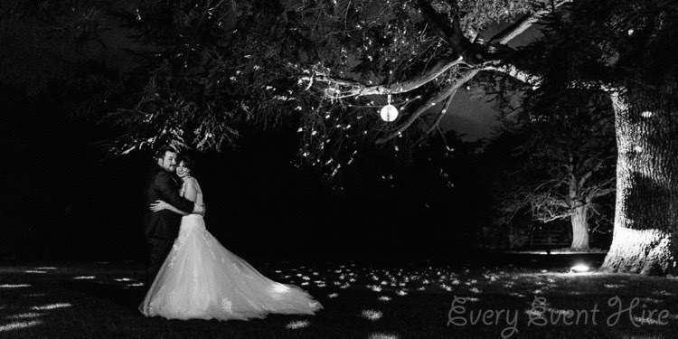 Bride and Groom with Outdoor Mirror Ball at Elmore Court