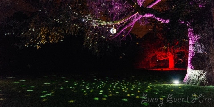 Mirror Ball Outside with Floodlit Trees at Elmore Court