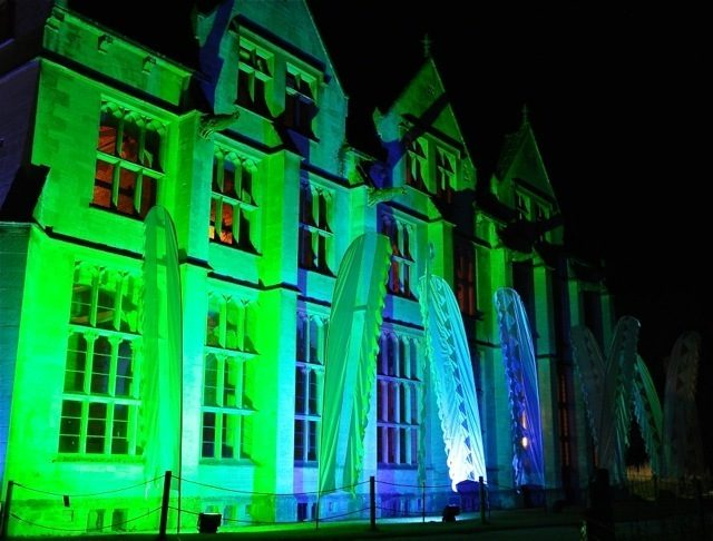 Woodchester Mansion floodlit