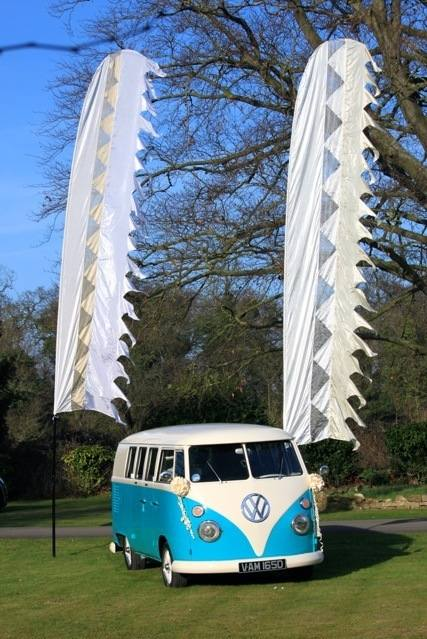 wedding flags and vw camper eastington park
