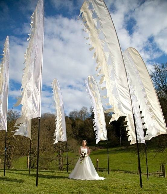 white wedding flags with bride woodchester mansion