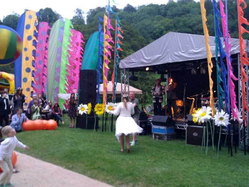 festival themed wedding flags woodchester mansion