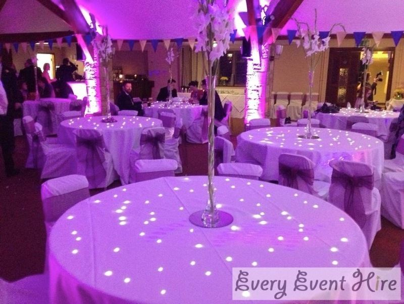 starlit tables and purple lighting