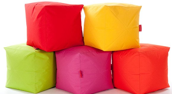 mixed colour cube bean bags