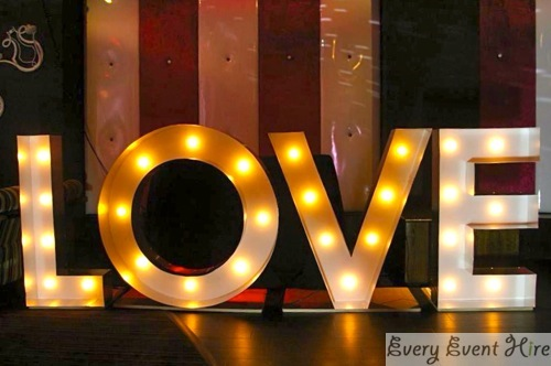 Illuminated Love Letter Sign Hire Gloucester