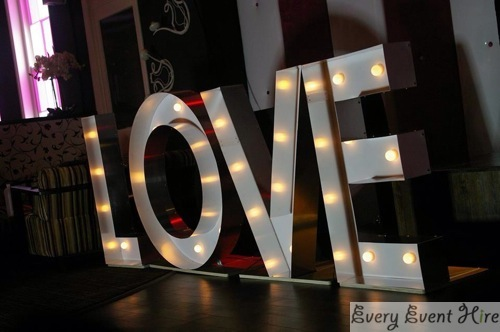 Light-up Love Sign for Wedding Hire Gloucestershire