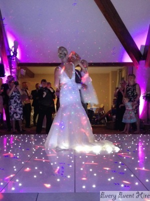 Starlit Dance Floor at Frogmill Hotel Cheltenham with Bride and Groom