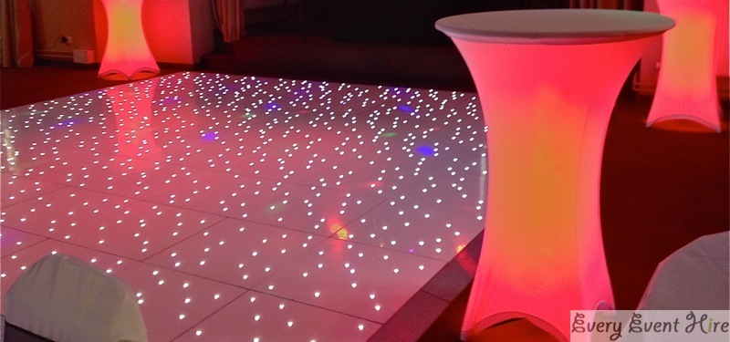 Starlit Dance Floor with Red LED Poseur Tables Frogmill