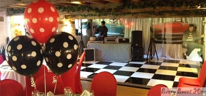 1950\'s Themed Party with Black and White Dance Floor Egypt Mill Stroud