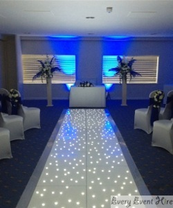 Starlit Aisle with Blue Lighting for Wedding at Bowden Hall Gloucester