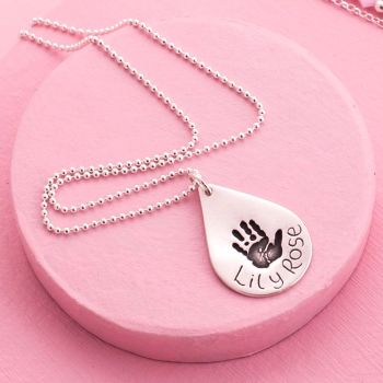 Silver Teardrop Handprint Necklace By Love Lily Rose (1)