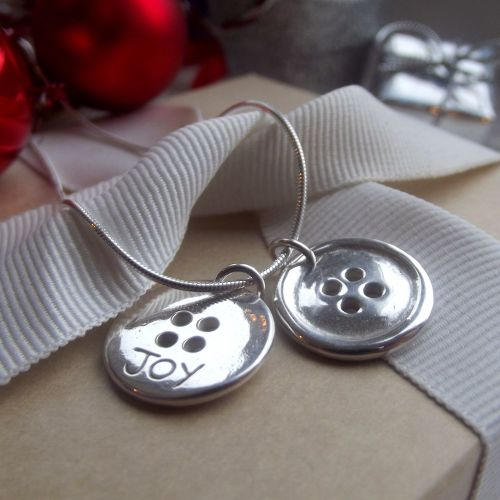 Fine Silver Double Button Necklace