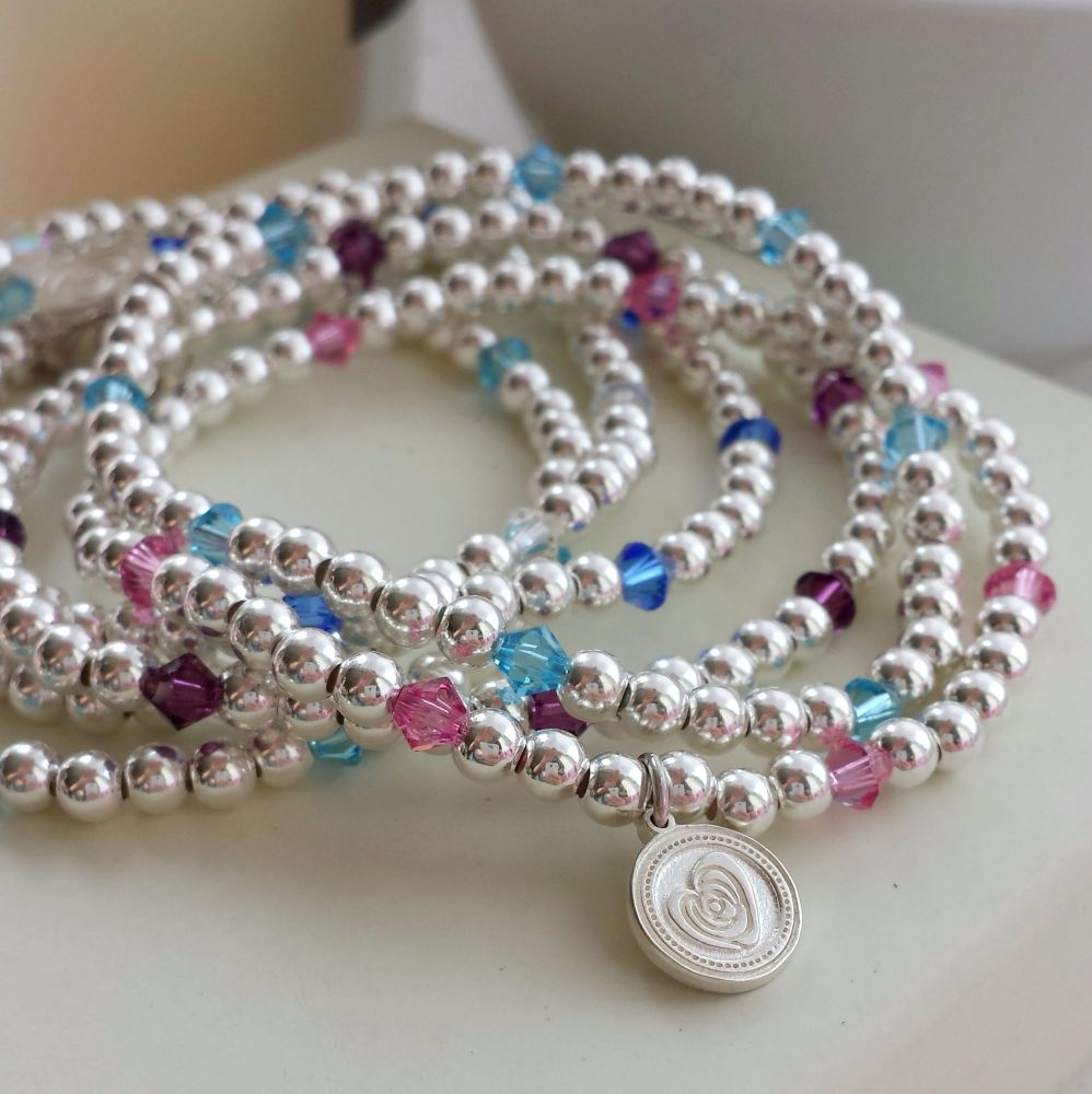 Silver and Swarovski birthstone Bracelet.