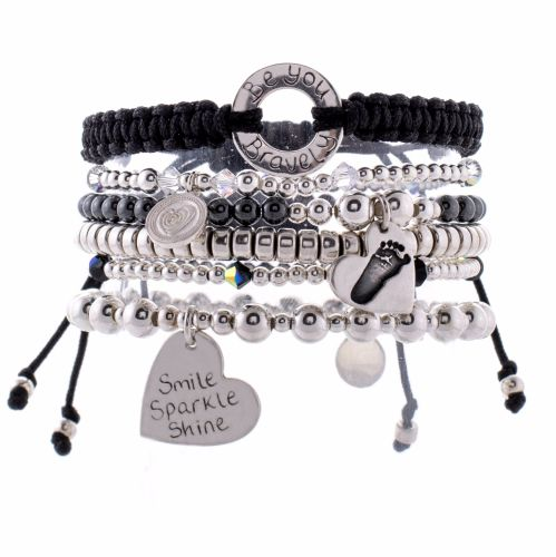 Personalised Silver Memory Stack | Silver Handprint jewellery