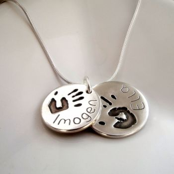 gifts blossom footprints the back at made pendant be comes words etched s necklace sided an footprint doublefeet baby with double or hand silver dates is names stamped can on sweet your actual disc front