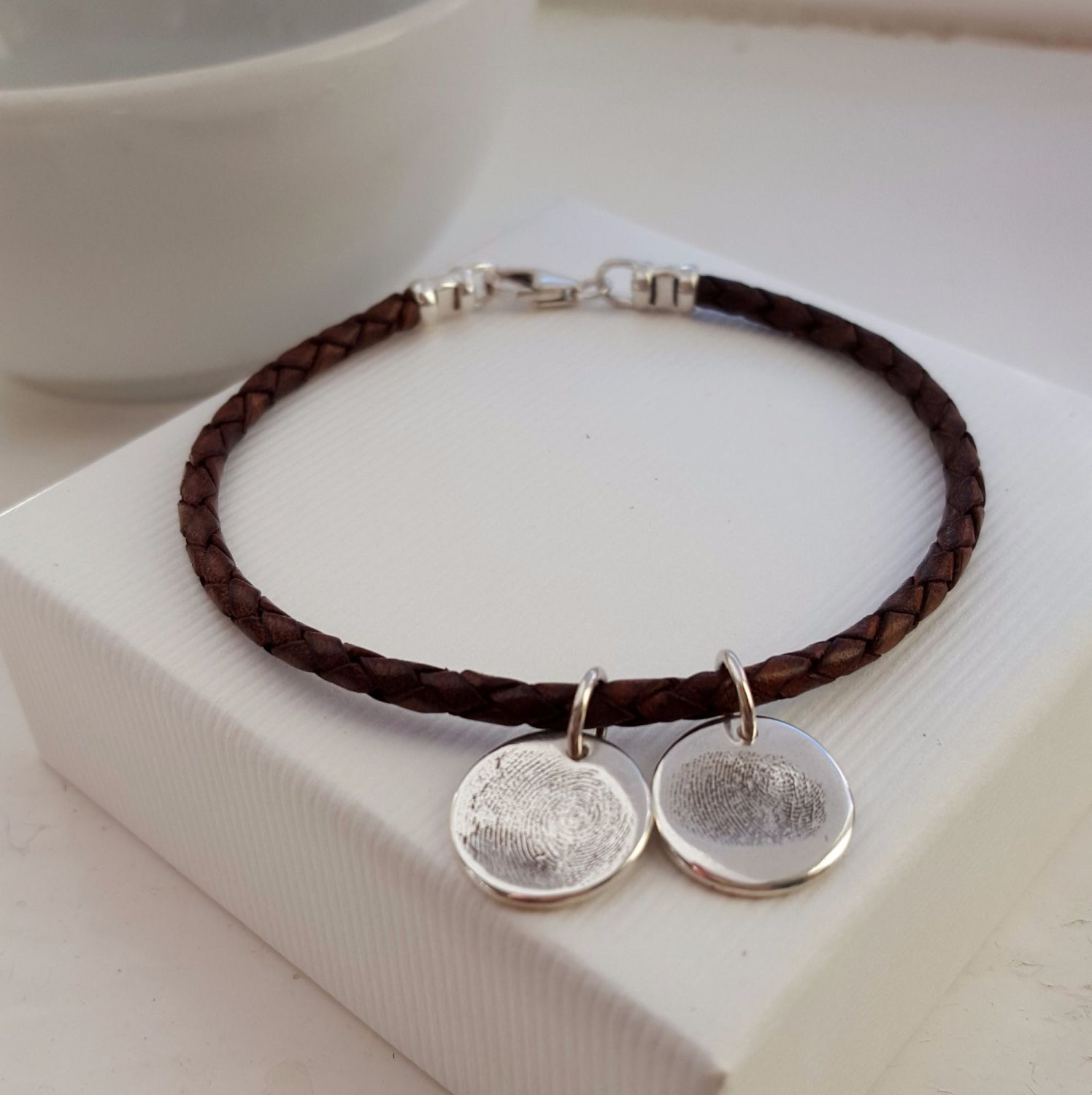 Leather Bracelet With Charms: Braided Leather Bracelet With Silver Fingerprint Charm