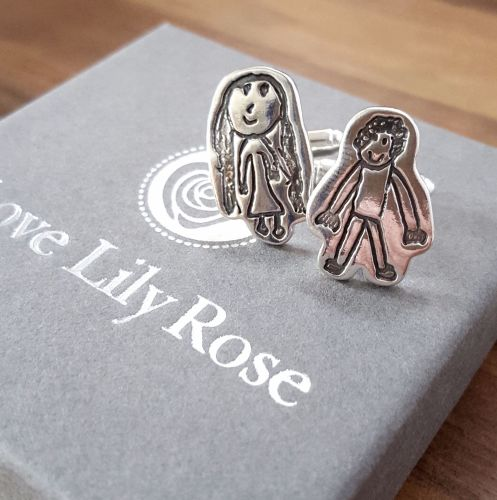 Silver Cufflinks created using your childs drawing