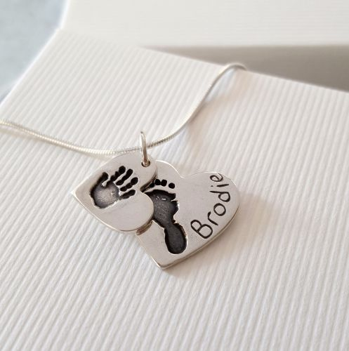 Small & Medium Double Handprint and Footprint Necklace.