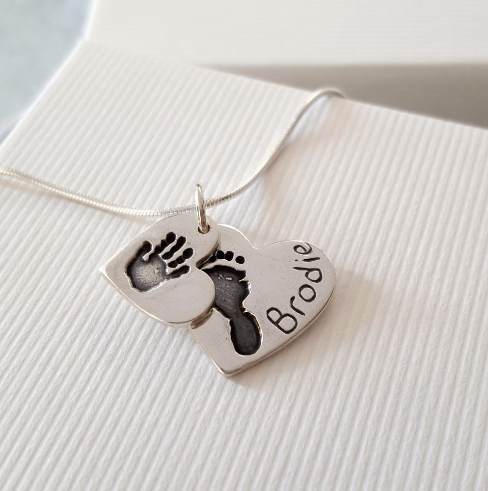 Love lily rose silver handprint and footprint pendant keepsake small medium double handprint and footprint necklace aloadofball Gallery