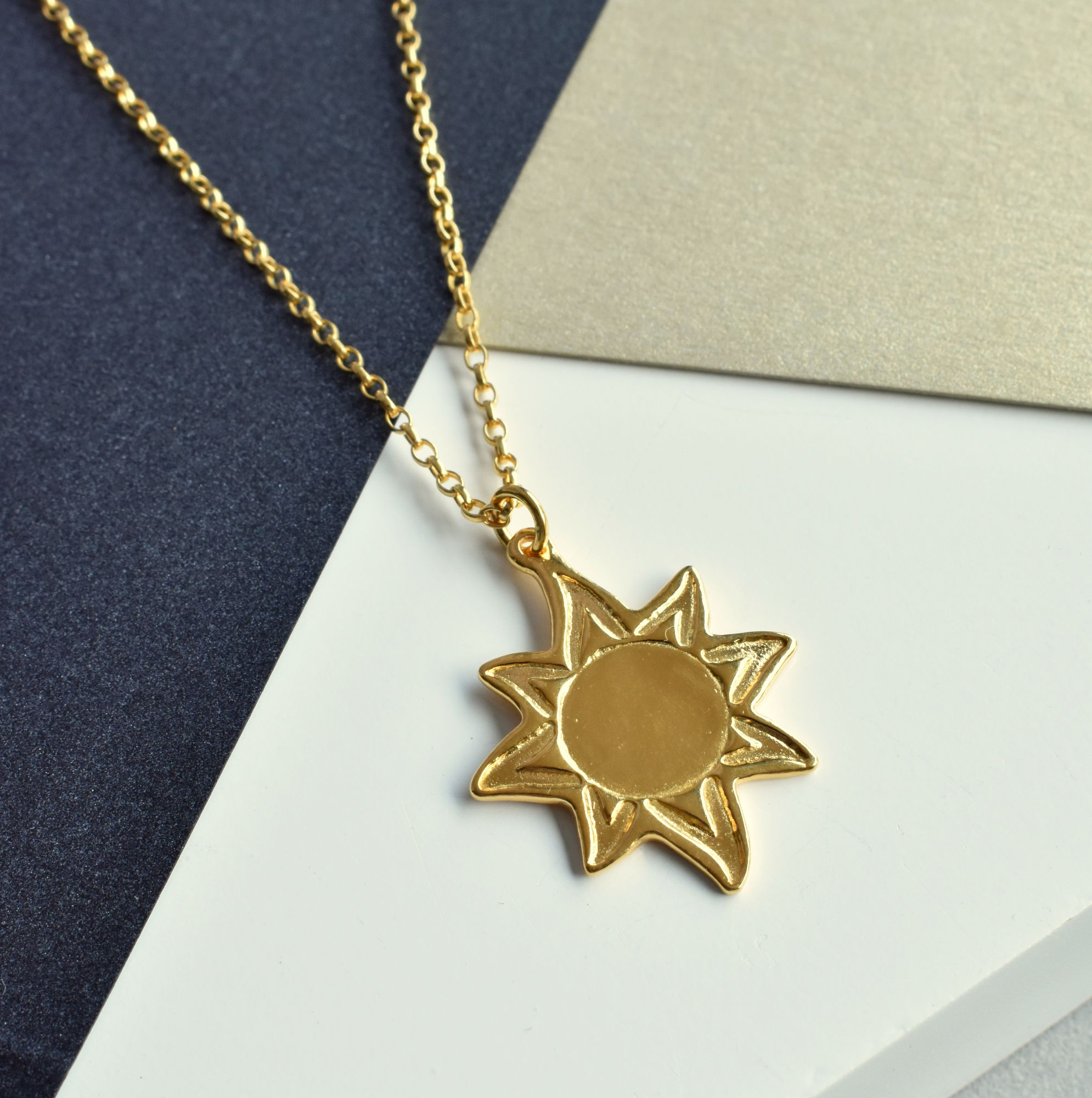 18ct Gold Vermeil Sun Necklace