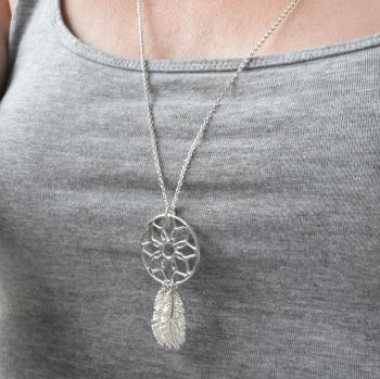 Silver Dreamcatcher Necklace