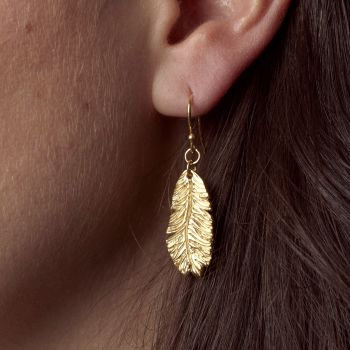 Gold Plated Feather Drop Earrings
