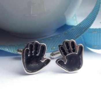 Cut-to-Shape Handprint Cufflinks