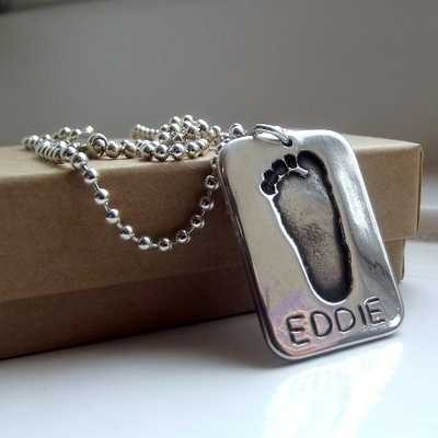 Men's Personalised Footprint Dog Tag