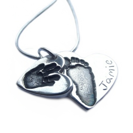 Double Hand and Footprint Necklace