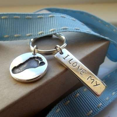Personalised Message Tag Footprint Keyring