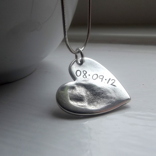 Fine Silver Fingerprint Necklace. Gifts for her.