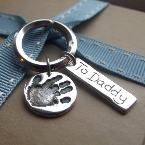 Fine Silver Personalised Handprint Keyring