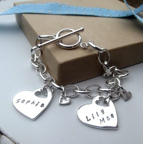 99.9% Silver Heart Charm Bracelet. Personalised Jewellery