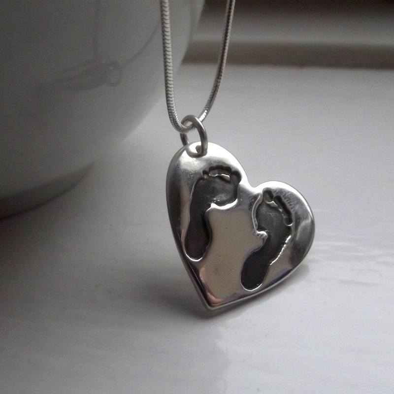 Silver Footprint Necklace. handmade Keepsake Jewellery