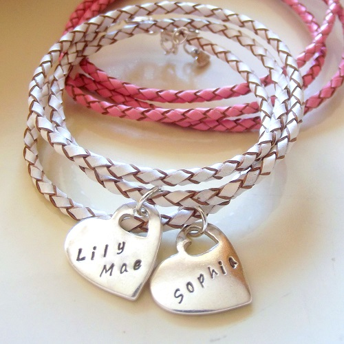 Womens Leather Wrap Bracelet with Personalised Silver Charms
