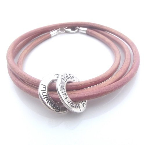 Personalised Message Ring Leather Wrap Bracelet