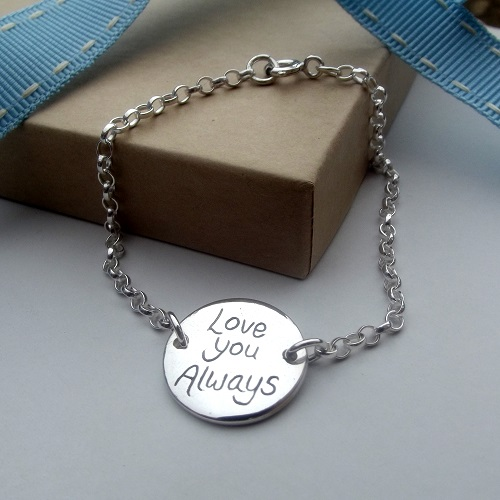 Personalised Silver Message Disc Bracelet. handmade Silver Jewellery