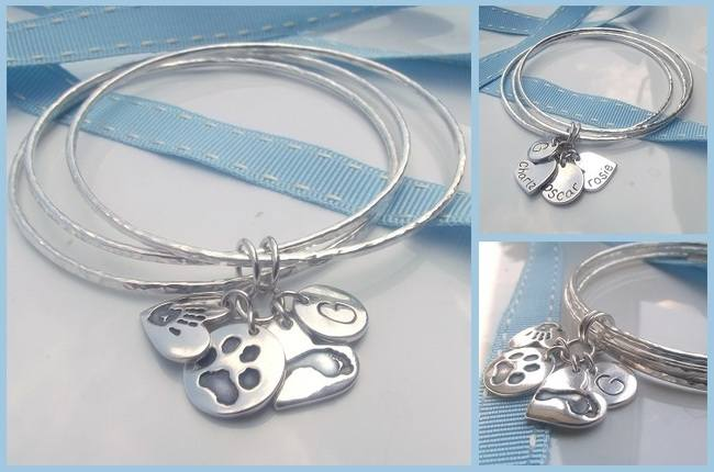 Handmade Fine Silver Hammered Bangles with Silver Handprint and Footprint Keepsake Charms