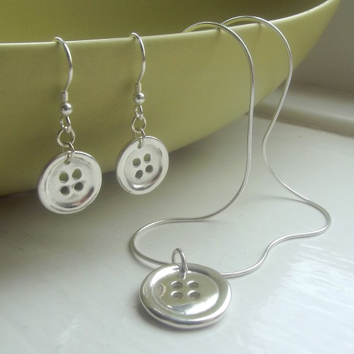 Fine Silver Button Jewellery Set