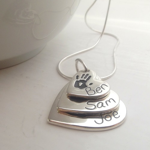 chain engraved pendant silver shaped name heart products and footprint necklace d sterling
