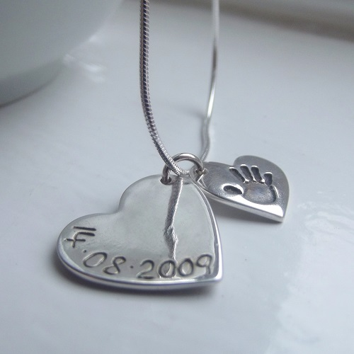 Personalised Handprint necklace with name and date insccription