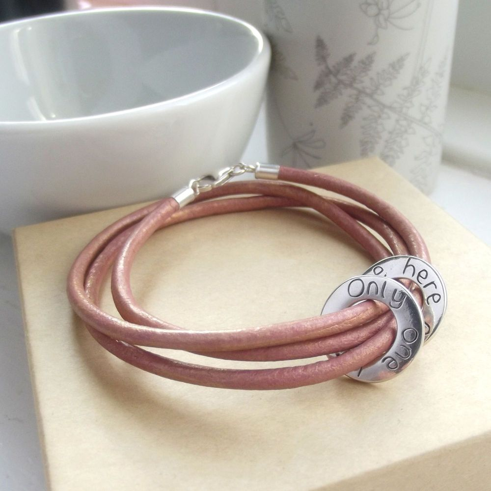 Personalised Pink Leather Wrap Message Ring Bracelet