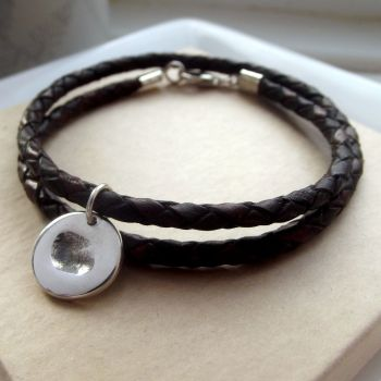 Men's Leather Bracelet with Fingerprint Charm