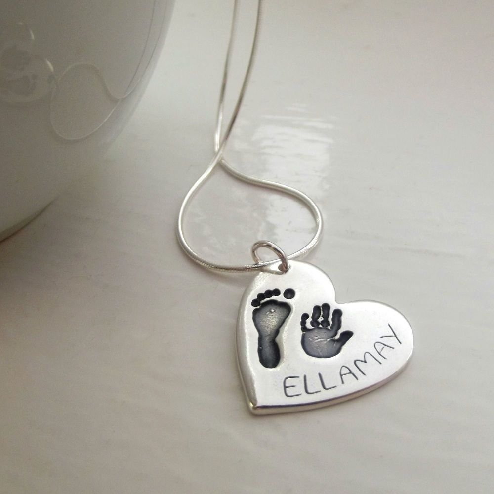 Love lily rose personalised silver handprint necklace large handprint and footprint pendant aloadofball Gallery