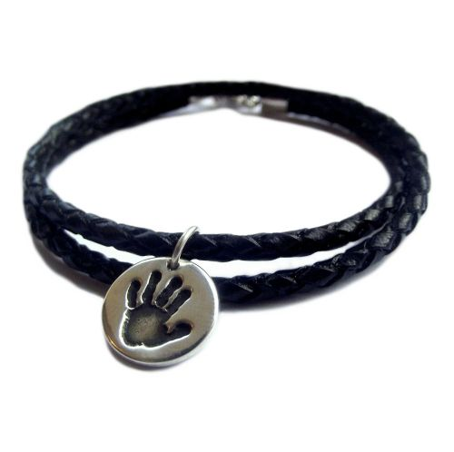 Leather Bracelet with Handprint Charm